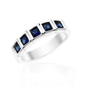 แหวน LENYA ETERNAL ประดับด้วย SWAROVSKI ZIRCONIA รูปทรงสีเหลี่ยมสีน้ำเงิน ดีไซน์รูปแบบเฉพาะสวมใส่ได้ทั้งชายหญิง บนตัวเรือนเงินแท้ชุบทองคำขาว