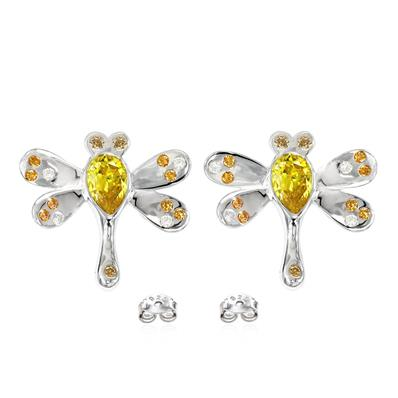 Butterfly shape Rhodium plated Sterling Silver earrings featuring Golden Yellow, Amber, Champagne and white Swarovski zirconia