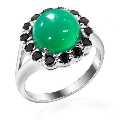 Rhodium Plated Silver Ring with Green Agate and Black Spinel