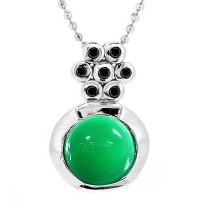 Rhodium Plated Pendant with Green Agate and Black Spinel