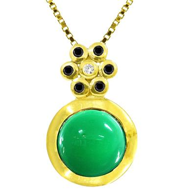 Yellow Gold Plated Pendant with Green Agate Black Spinel and Cubic Zirconia