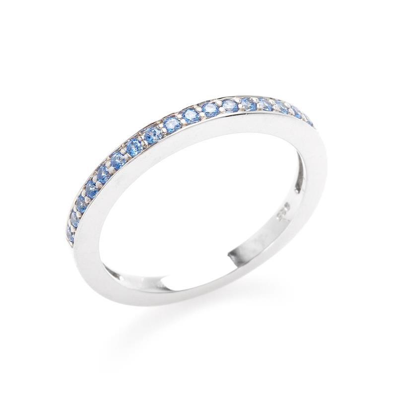 แหวน LENYA ETERNAL ประดับด้วย SWAROVSKI ZIRCONIA สีน้ำเงินแฟนซี บนตัวเรือนเงินแท้ชุบทองคำขาวแท้ สวยคลาสสิค