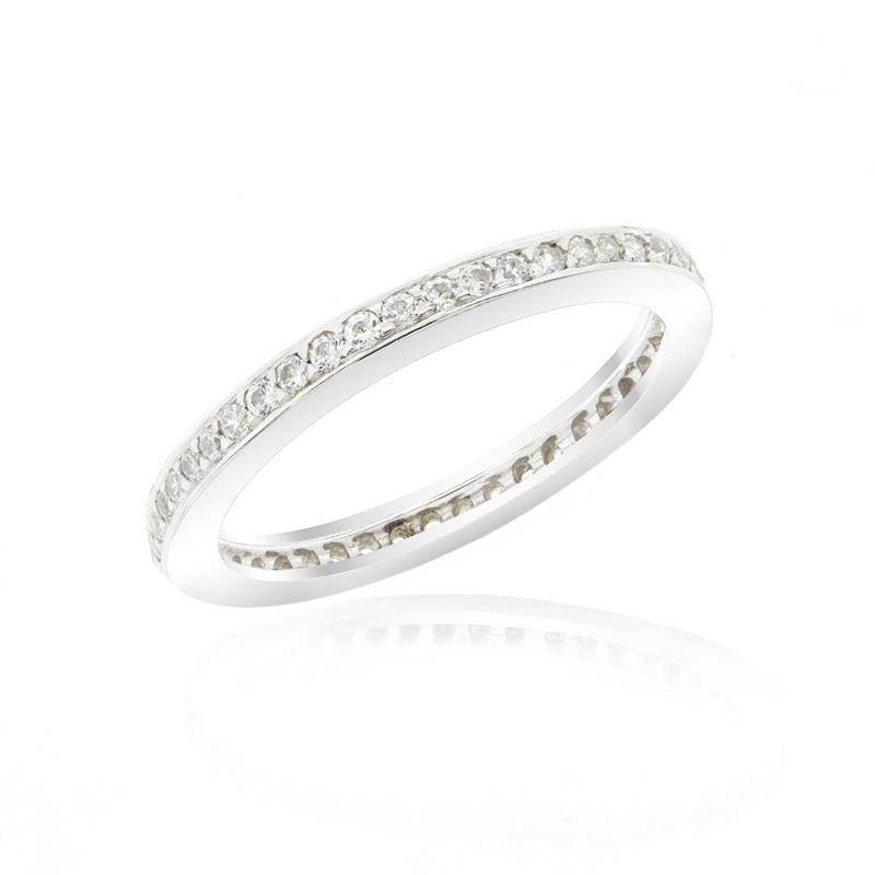 แหวน LENYA ETERNAL ประดับด้วย SWAROVSKI ZIRCONIA สีขาว ดีบนตัวเรือนเงินแท้ชุบทองคำขาวแท้ ไซน์แบบแถวเดี่ยวเต็มวง สวยคลาสสิค