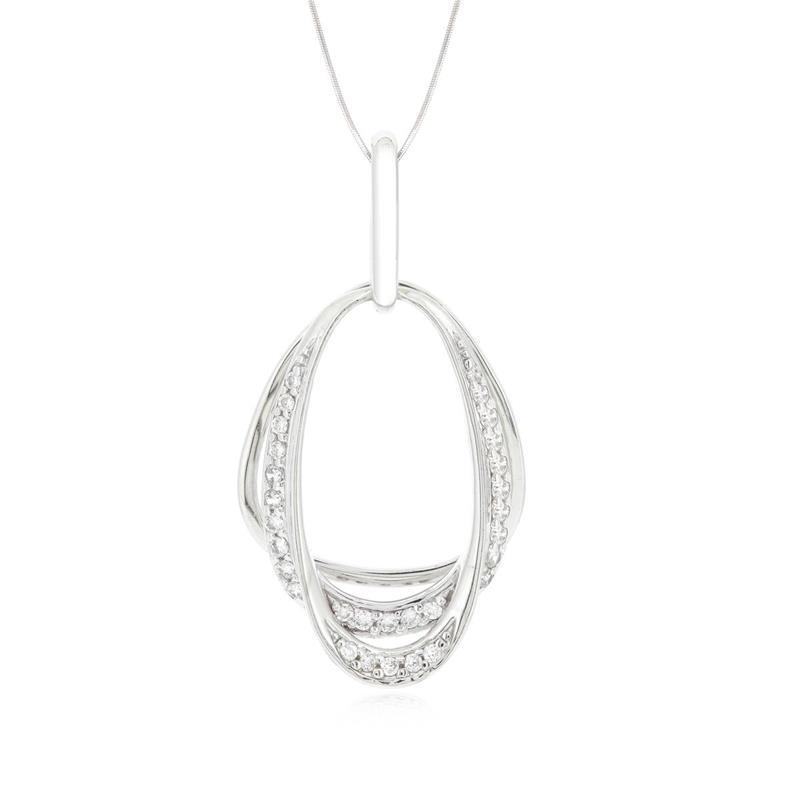 จี้ดีไซน์เรียบง่ายแต่แฝงไปด้วยความเก๋ ประดับเพชร DiamondLike เรียงแถวสวยงาม บนตัวเรือนเงินแท้ชุบทองคำขาว