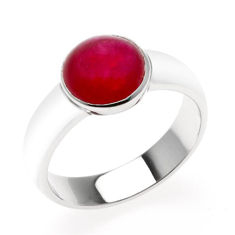 แหวน LenYa หัวแหวนทับทิม (Ruby) สีแดง เม็ดโต ทรงหลังเบี้ย ตัวเรือนเงินแท้ชุบทองคำขาว