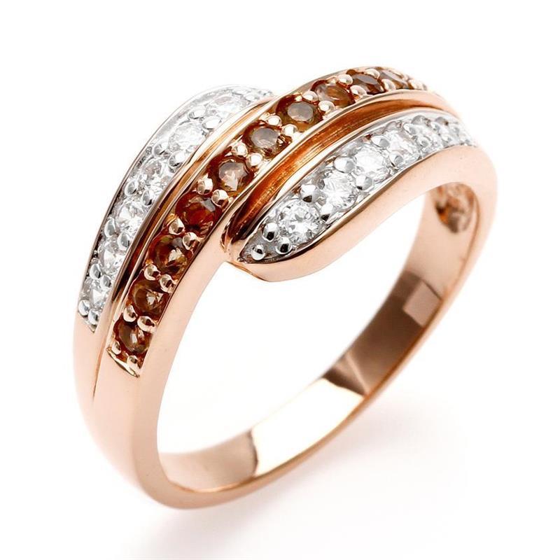 แหวน LenYa ประดับพลอยสโมคกี้ควอทซ์ (Smoky Quartz) และเพชรDiamondLike ตัวเรือนเงินแท้ชุบสีพิ้งค์โกลด์ (Pink Gold)