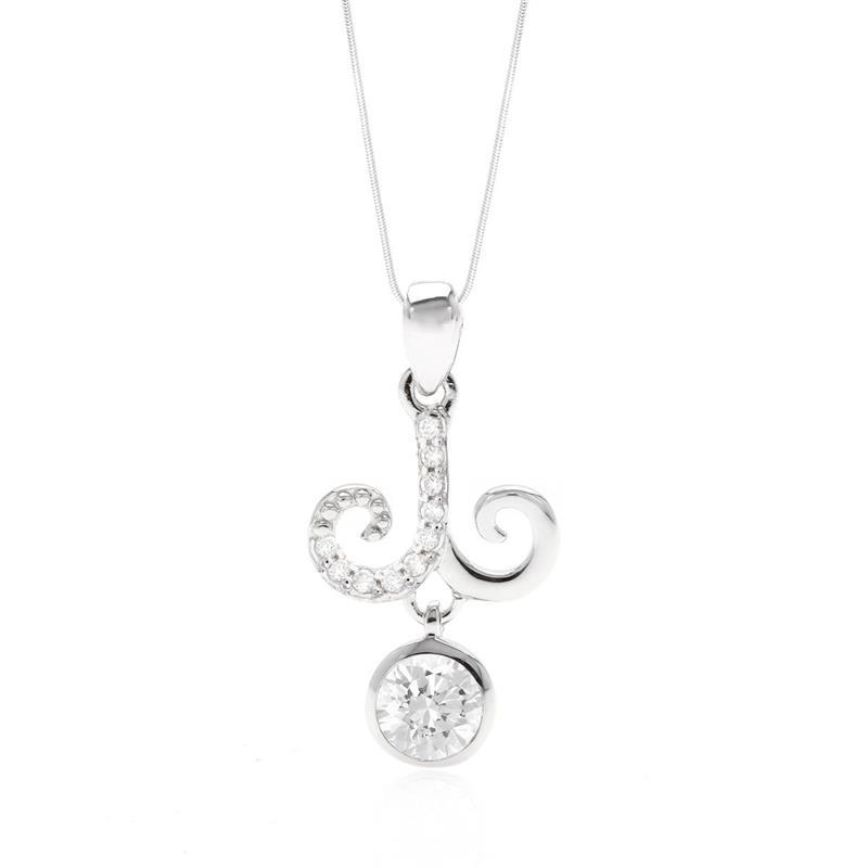 จี้สัญลักษณ์ Zodiac ประจำราศีเมษเจ้าแห่งความคิดริเริ่มสร้างสรรค์  ประดับเพชร DiamondLike บนตัวเรือนเงินแท้ชุบทองคำขาว