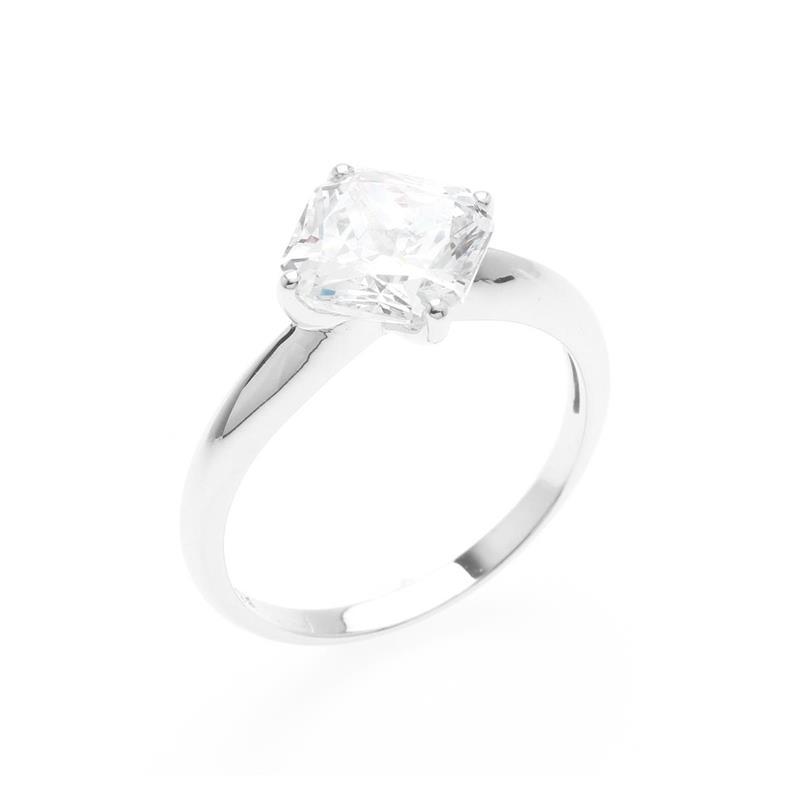 แหวนเพขร DiamondLike ทรงสี่เหลี่ยนม Princess ตัวเรือนเงินแท้ 925 ชุบทองคำขาว