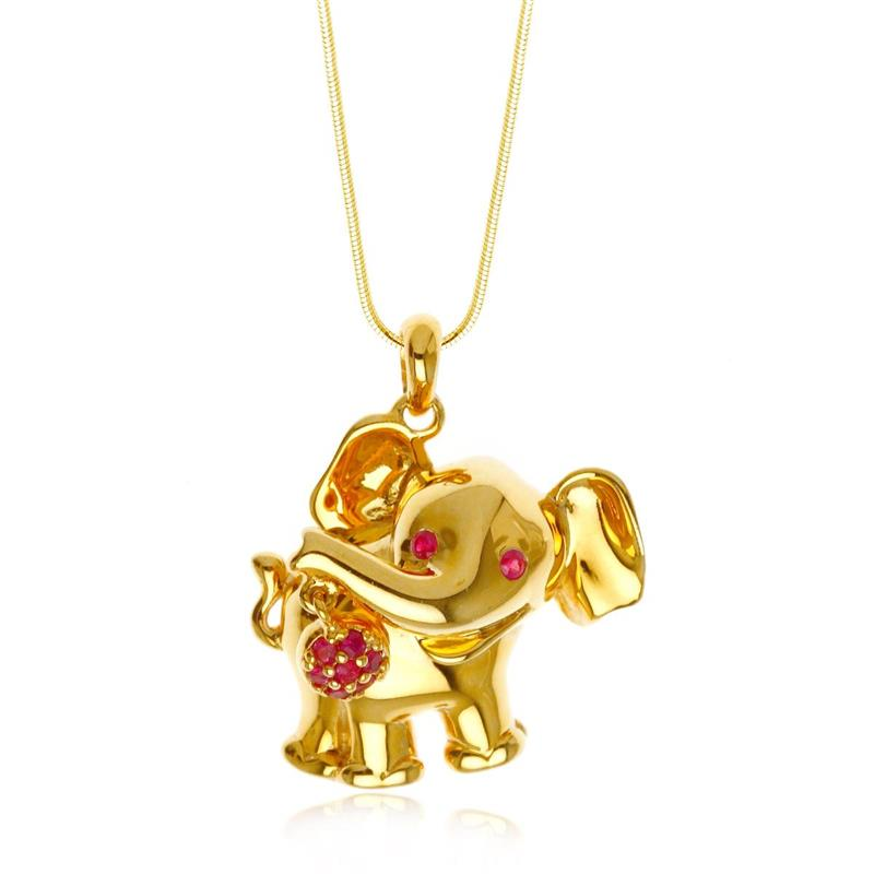 จี้ช้าง เอกลักษณ์ความเป็นไทย เงินแท้ ประดับพลอย ทับทิม ( Ruby) ชุบทอง สวยโดดเด่น