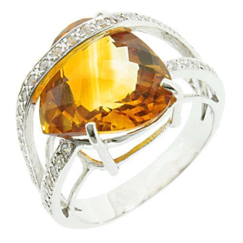 แหวนพลอยซิทริน(Citrine) เม็ดใหญ่ ดีไซน์สุดอลังการ บนตัวเรือนเงินแท้ชุบทองคำขาว