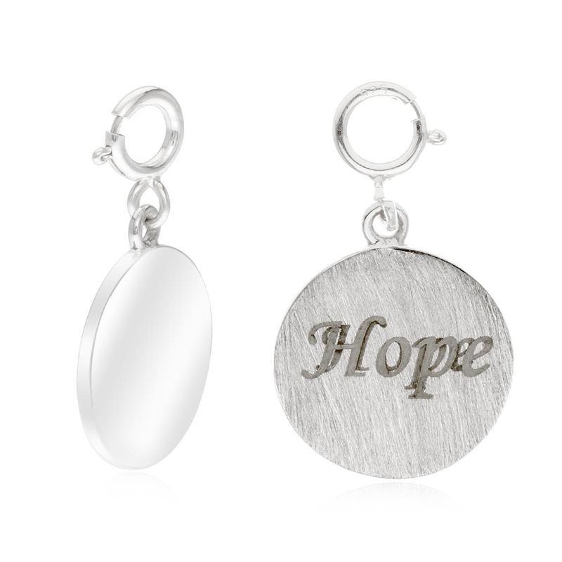 """ชาร์มแท็กนำโชคแผ่นกลม ตัวเรือนเงินแท้925 ชุบทองคำขาว พิมพ์คำว่า """" Hope""""  เปี่ยมพลังที่เต็มไปด้วยความหวัง มองโลกในแง่ดีเสมอๆ"""