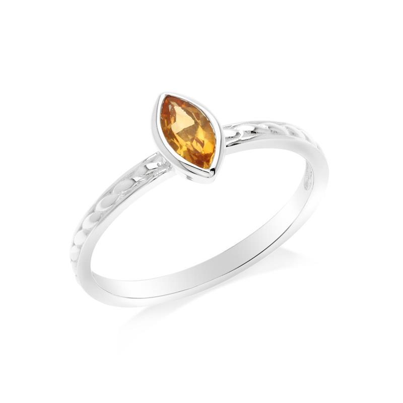 แหวนเงินแท้ ประดับพลอยสีเหลือง ซิทริน (citrine) ทรงมาร์คีย์ สวยเท่ห์อย่างมีสไตล์ ตัวเรือนชุบทองคำขาว