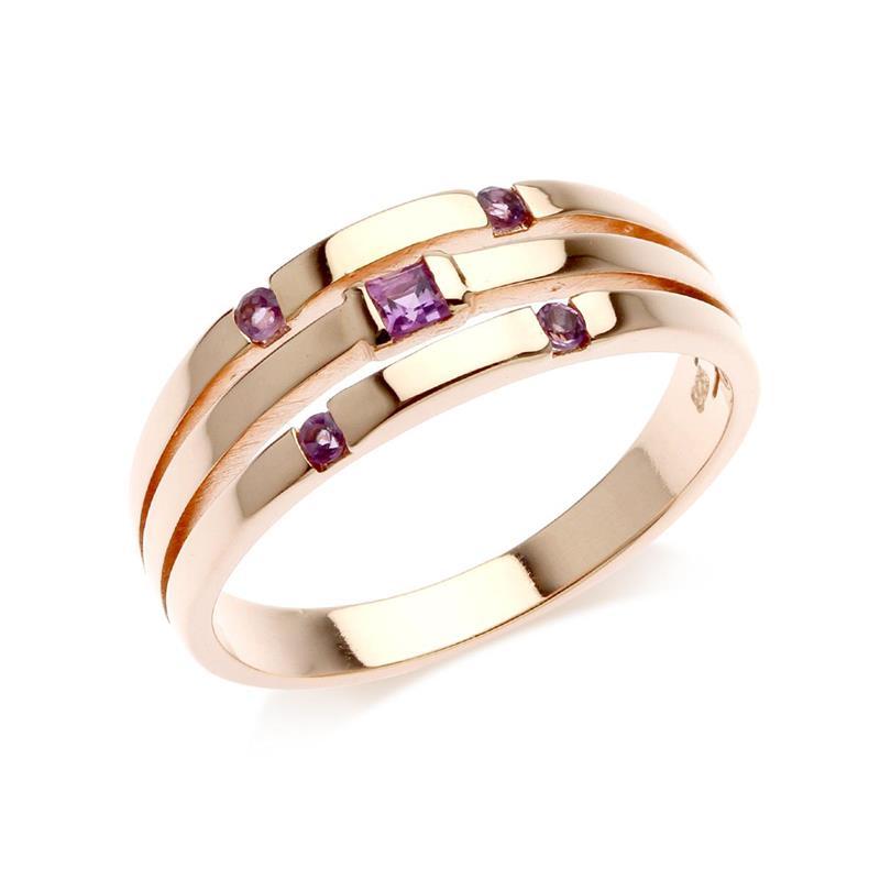 แหวนเงินแท้ ประดับอเมทิสต์ (Amethyst) ดีไซน์เรียบเก๋ สวยอย่างมีสไตล์ ตัวเรือนชุบพิ้งโกล์ด