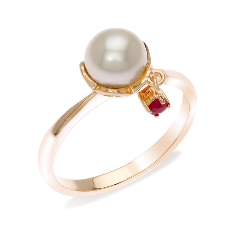 แหวนไข่มุก สีขาวบริสุทธิ์ ประดับด้วยทับทิมด้านข้าง เสริมลูกเล่น สะดุดตา ตัวเรือนเงินแท้ชุบพิงค์โกลด์