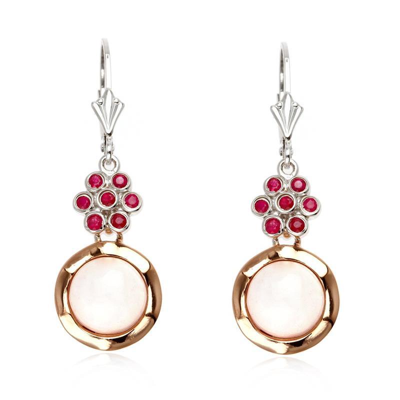 ต่างหูเงินแท้ 925 ผสานเทคนิคชุบโรเดียม และ pink gold สวยสง่า ดีไซน์ตุ้งติ้งสไตล์ผู้หญิง ประดับด้วย Rose Quartz และ Ruby หวานสุดใจ เสริมทั้งการงาน เสน่ห์และโชคด้านความรัก ลงตัวสุด