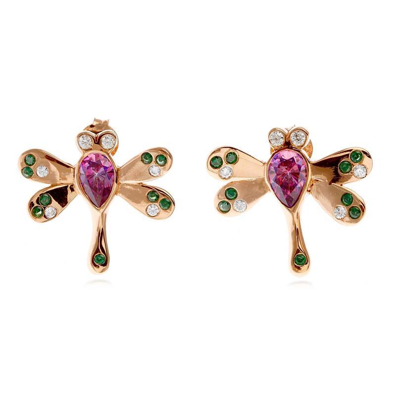 ต่างหูเงินแท้ 925 ชุบ Pink Gold ดีไซน์รูปแมลงปอ ประดับด้วย Swarovski Zirconia 4 สี ม่วง, แชมเปญ, ขาว, เขียว ให้ลุคสวยมีสไตล์ เลอค่า ดูอบอุ่น ดูมีราศี เหมาะทั้งซื้อใส่เองและเป็นของฝาก