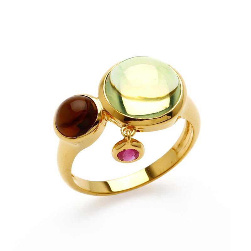 แหวนเลมอนควอตซ์ เจียระไนหลังเบี้ย ประดับสโมคกี้ควอตซ์และทับทิม ตัวเรือนเงินแท้ ชุบทอง 18k