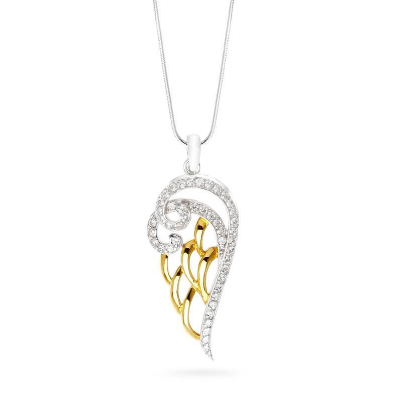 จี้เงินแท้ ชุบทอง ประดับด้วย DiamondLike รูปปีกนางฟ้า