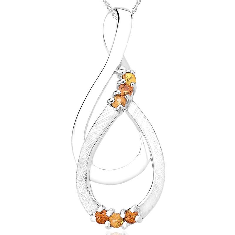 จี้เงินแท้ 925 ชุบทองขาว ประดับแซฟไฟร์สีเหลือง(Yellow Sapphire) แซฟไฟร์สีส้ม(Orange Sapphire) มีตัดลาย Texture ที่ตัวเรือน สวยไม่เหมือนใคร