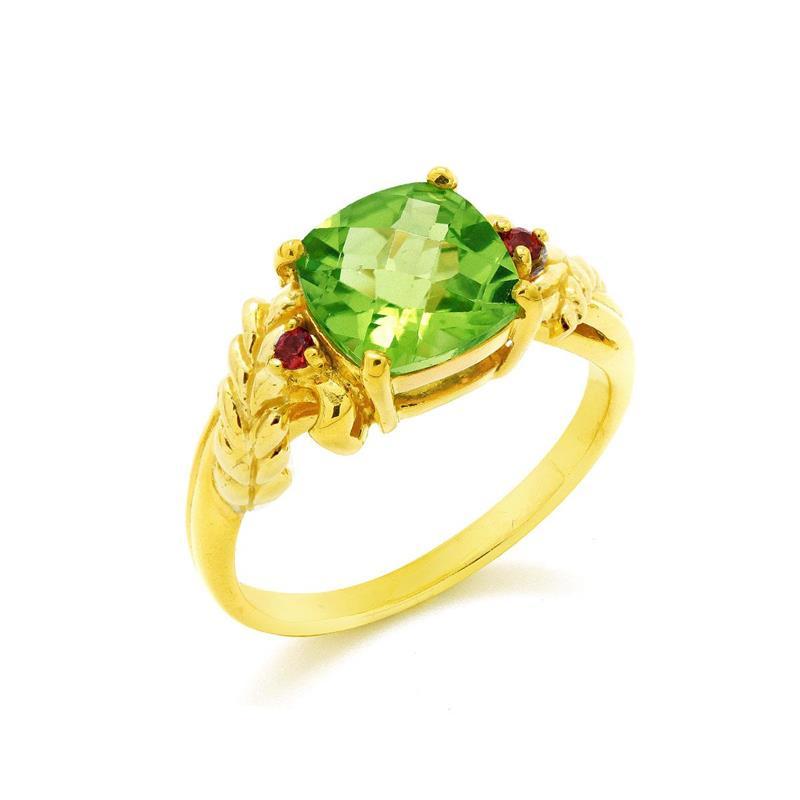 แหวนพลอยเพอริดอท(Peridot) และ ออเร้นจ์ แซฟไฟร์ (Orange Sapphire) ดีไซน์สุดคลาสิค เหมาะสำหรับสวมใส่กับเสื้อผ้าทุกชุดทุกสไตล์ ตัวเรือนเงินแท้ชุบทองคำ