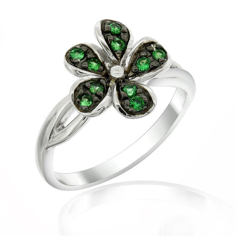 แหวนเงินแท้ 925 ดีไซน์ดอกไม้ ประดับด้วยพลอย ซาโวไรท์(Tsavorite) สีเขียว ชุบ 2สี Black Rhodium and Rhodium