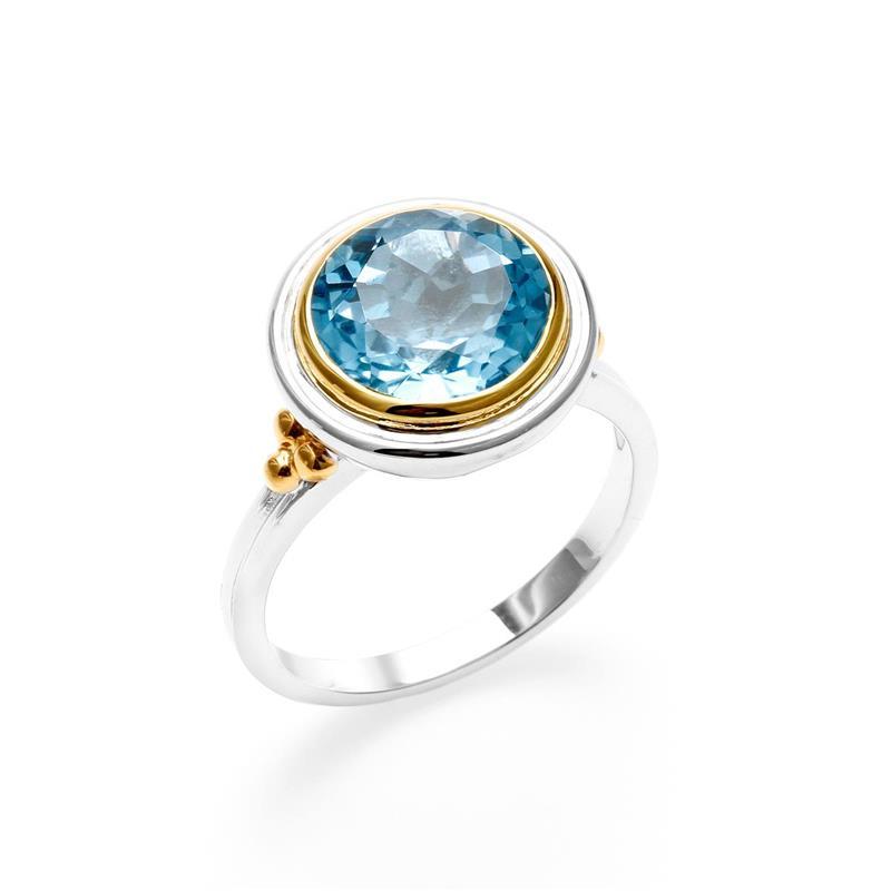 แหวน LenYa ประดับพลอยบลูโทปาซ(Blue Topaz) ตัวเรือนเงินแท้ชุบทองคำขาวและขอบชุบทองสวยงาม เสริมรสนิยม สวยสง่า ดูดี