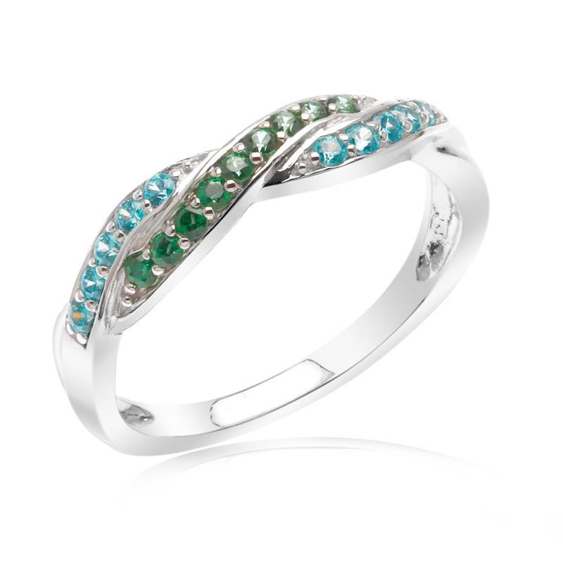 แหวนประดับ SWAROVSKI ZIRCONIA สีเขียวและสีฟ้า  ตัวเรือนเงินแท้ 925  ชุบทองขาว ใส่แหวน เสริมรสนิยม สวยสง่า ดูดี