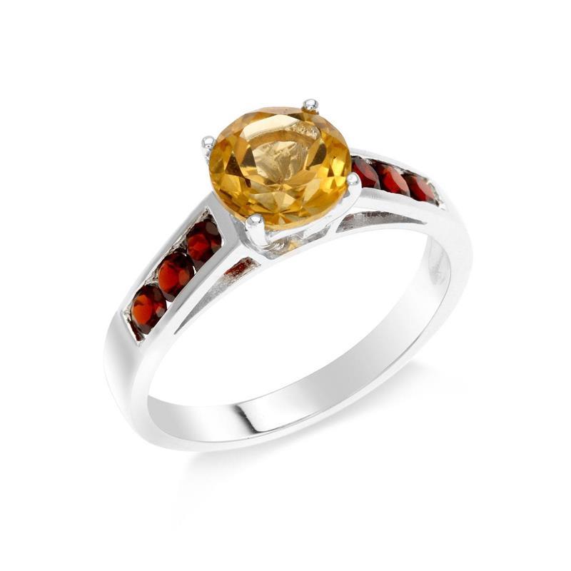 แหวนซิทริน (Citrin) ทรงกลม ตัวเรือนเงินแท้ชุบทองคำขาว ประดับพลอยโกเมน (Garnet) ใส่แหวน เสริมรสนิยม สวยสง่า ดูดี