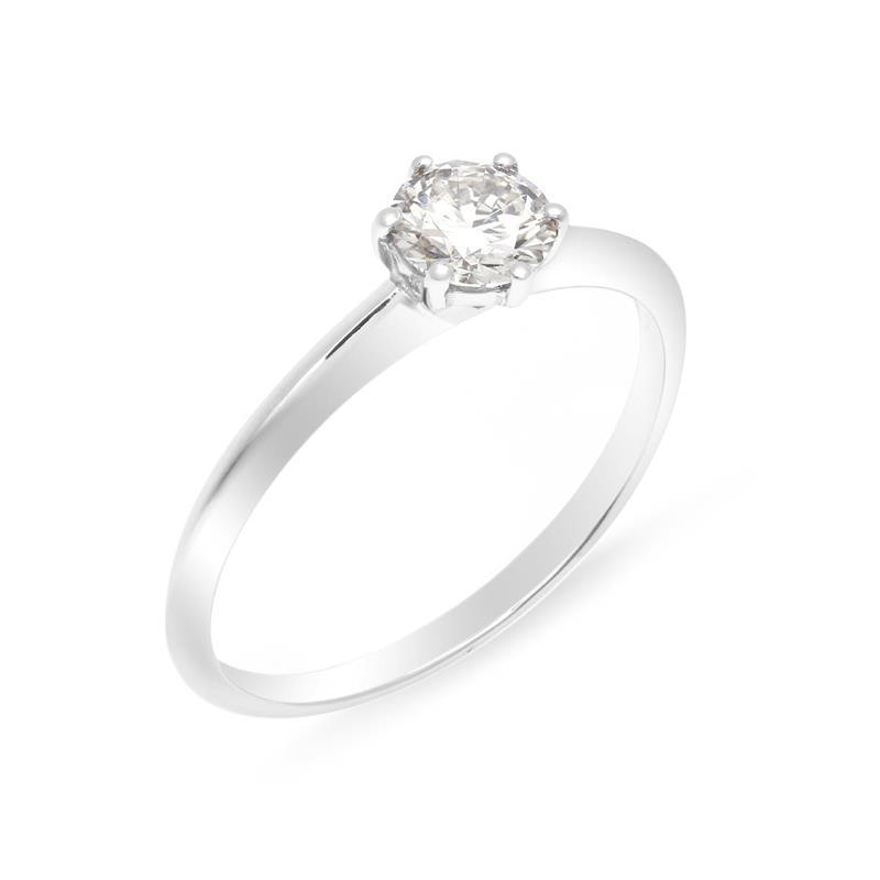 แหวนทองคำขาว 18 เค ประดับด้วยเพชร Lab Grown Diamond ขนาด 0.52 กะรัต แหวนเพชรผู้หญิง ประดับให้นิ้วดูสวยงามขึ้น