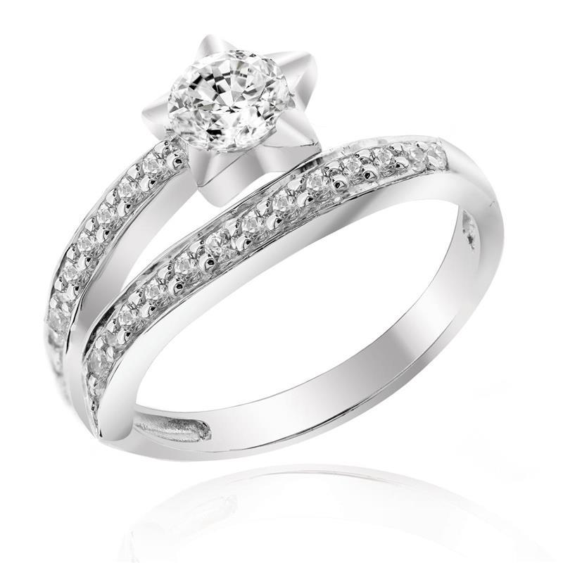 แหวนเพชร DiamondLike แฟชั่นดีไซน์รูปดาว ให้คุณโดดเด่นในทุกปาร์ตี้ ตัวเรือนเงินแท้ชุบทองคำขาว
