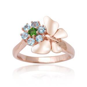 แหวนดีไซน์น่ารัก ผีเสื้อและดอกไม้ประดับพลอยบลูโทปาซ(Blue Topaz) และพลอยโครมไดออฟไซด์ (Chrome diopsid) ตัวเรือนเงินแท้ชุบสีพิงค์โกลด์