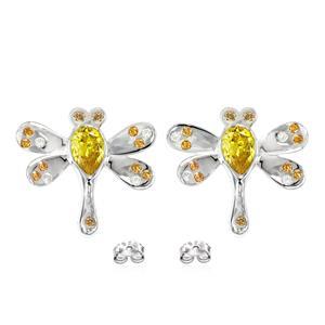 ต่างหูรูปแมงปอประดับ SWAROVSKI ZIRCONIA สีเหลืองทอง สีเหลืองอำพัน และสีแชมเปญ ตัวเรือนเงินแท้ชุบทองคำขาว