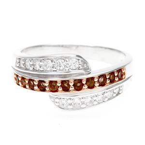 แหวน LenYa ประดับพลอยสโมคกี้ควอทซ์ (Smoky Quartz) และเพชรDiamondLike ตัวเรือนเงินแท้ชุบทองคำขาว