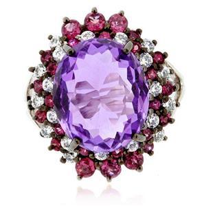 แหวน LenYa หัวแหวนอะเมทิสต์ (Amethyst) เม็ดโต ประดับด้วยพลอยโรโดไลท์ (Rhodolite)และเพชร DiamondLike บนตัวเรือนเงินแท้ชุบทองคำขาว