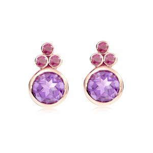 ต่างหูอเมทิสต์ (Amethyst) สีม่วง ประดับทับทิม สีชมพู  ตัวเรือนเงินแท้ชุบพิ้งค์โกลด์(Pink Gold)
