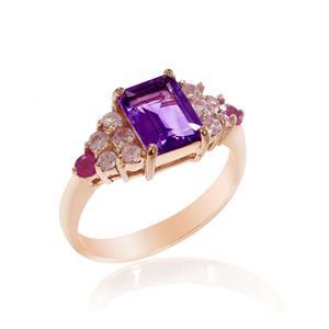 แหวนแหวนสีม่วง ประดับแซฟไฟซ์สีชมพู และทับทิม ตัวเรือนเงินแท้ชุบสีพิ้งค์โกลด์ (Pink Gold)