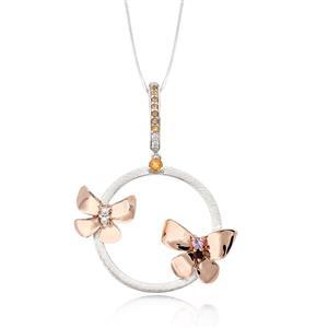 จี้ดีไซน์ผีเสื้อโดดเด่น ประดับพลอยหลากสี ซิทริน (Citrine) แซฟไฟร์สีชมพู (Pink Sapphire) โกเมน (Garnet) และเพชร DiamondLike