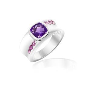 แหวนประดับอะเมทิสต์(Amethyst) สีม่วง พิ้งค์แซฟไฟซ์(Pink Sapphire) สีชมพู และเพชรDiamondLike ตัวเรือนเงินแท้ชุบทองคำขาว