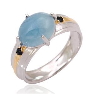 แหวนอะความารีน(Aquamarine) ประดับไพลิน(Blue Sapphire) ตัวเรือนเงินแท้ชุบทองคำขาว