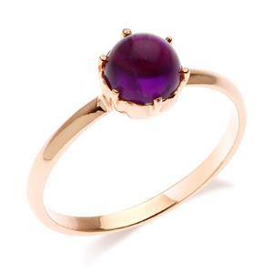 แหวนอเมทิสต์ (Amethyst) ชูเดี่ยว ดีไซน์เรียบง่าย สวยโดดเด่นเป็นหนึ่งเดียว ตัวเรือนเงินแท้ 925 ชุปพิงค์โกลด์ (pink gold)