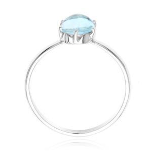 แหวน ดีไซน์เรียบๆ เพิ่มความโดดเด่นบนนิ้ว กับพลอยสีฟ้า บลูโทปาซ(Blue Topaz) สว่างสดใส ตัวเรือนเงินแท้925 ชุปทองคำขาว (White Gold)
