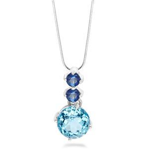 จี้เงินแท้ 925 ชุปทองคำขาว ประดับพลอย สีฟ้าบลูโทแพซ (Blue Topaz) สีน้ำเงิน ไพลิน ( Blue Sapphire) ดีไซน์เรียบเก๋ สวยสะดุดตา สไตล์ เกาหลี ญี่ปุ่น ใส่ได้ทุกโอกาส