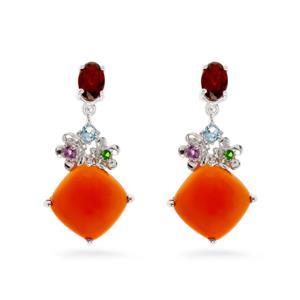 ต่างหูเงินแท้ 925 ชุบทองขาว ประดับพลอยสีส้มอมแดง คาร์เนเลี่ยน (Carnelian) ดูโดดเด่น  เพิ่มสเน่ห์ด้วยพลอย สีแดง การ์เน็ต ,สีม่วงอเมทิสต์ ,สีฟ้า  บลู โทแพซ ,สีเขียว โครมไดออฟไซด์