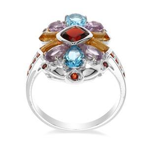 แหวนเงินแท้ 925 ชุบทองขาว ดีไซน์เหนือระดับ ที่รวมเอาพลอยหลายรูปแบบ และหลากสีสันเพิ่มเสน่ห์บนเรียวนิ้ว ในสไตล์ ที่โดดเด่น  ด้วยพลอย สีแดงโกเมน  สีฟ้า สวิตซ์บลูโทแพซ  สีม่วงอเมทิสต์  สีเหลืองซิทริน