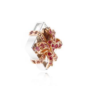 จี้ของขวัญ เงินแท้ 925 ประดับพลอยชมพู (Pink Sapphire) ทับทิม( Ruby) ชุบทองขาว สุดน่ารัก ในวันที่สดใส