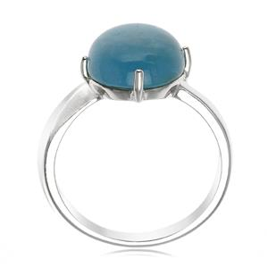 แหวนอะความารีน (Aquamarine) สีฟ้าน้ำทะเล เม็ดใหญ่ 10 มิล ปกป้องคุ้มภัยในการเดินทาง โดยเฉพาะทางน้ำ ตัวเรือนเงิน 925 ชุบทองคำขาว