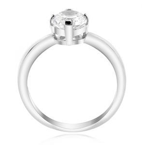 เครื่องประดับ  LENYA ETERNAL แหวนดีไซน์เรียบหรู ชูเดี่ยวประดับด้วย Swarovski Zirconia ตัวเรือนเงินแท้ชุบทองคำขาว
