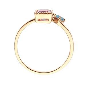 แหวนอเมทีสต์ (Amethyst) ประดับโทแพซสีฟ้า (Blue Topaz) เม็ดเล็ก ตัวเรือนเงินแท้ 925 ชุบพิ้งโกล์ด