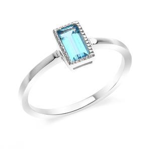 แหวนโทแพชสีฟ้า(Blue Topaz) ทรงสี่เหลี่ยม ดีไซน์น่ารักสุดเก๋ ตัวเรือนเรือนเงินแท้925 ชุบทองคำขาว