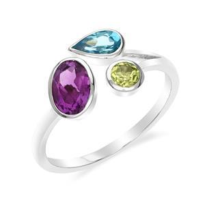 แหวนเงินแท้ ประดับอเมทีสต์ (Amethyst) สีม่วงรูปไข่ โทแพซสีฟ้า (Blue Topaz) ทรงหยดน้ำ และเพอริดอต (Peridot) สีเขียว ตัวเรือนชุบโรเดียม